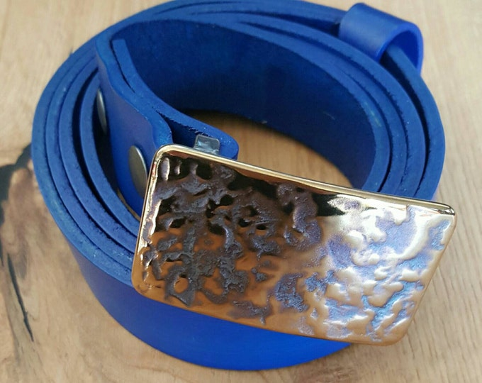 """Men's Hand Forged Belt Buckle & Blue Hand Dyed Suit Belt SET ~ Hypoallergenic Accessories  ~  Groomsmen's Gifts ~ Fits 1.25"""" Belt for Suits"""