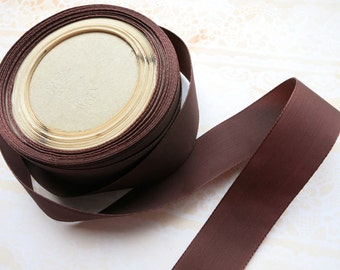 """10 Yards 1"""" wide Vintage Chocolate Brown Woven Ribbon"""