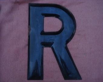 """Vintage  Large 18"""" Black Enameled Metal Store Sign Letter R"""