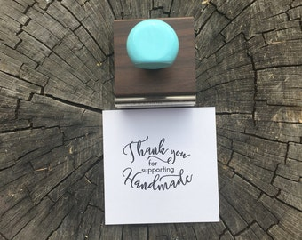 Thank you Stamp, Handmade Thank You, Small business, Robins Egg Blue, Blue Handle, Rubberstamp, Stationary Stamp, Rubber Stamp