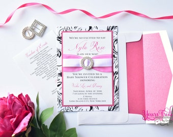 Sample - Swanky Baby- Shimmer Fuchsia Pink, Black and White and Crystal Buckle Invitation for Wedding, Bat Mitzvah, sweet sixteen