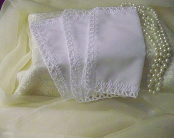 Lace Handkerchief, Lace Hanky, Purse Size, White, Ladies, Personalized, Monogrammed, Embroidered, Smaller, Lacy, Hanky Set, Ready to ship