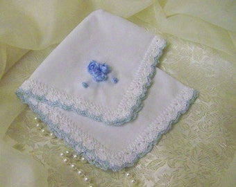 Ribbon Embroidered, Handkerchief, Hanky, Hankie, Hand Crochet, Something Blue, Bridal, Monogrammed, Personalized, Embroidered, Keepsake