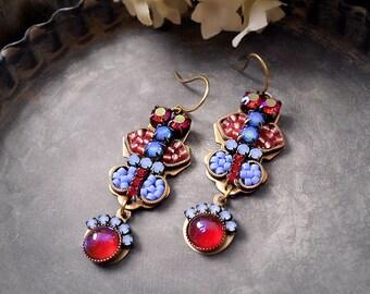 Luna Rossa Ethereal Micro Mosaic Earrings Dragon's Breath Opal Red Blue Violet Periwinkle Rhinestone Art Earrings Garden Wedding Bridesmaid