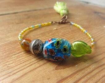 Murano Glass Beaded Tassel Bracelet, Venetian Glass Beaded Bracelet, Boho Stacking Layering Bracelet, Tassel Jewelry, Recycled Jewelry