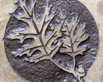 Red Oak Leaves - 4x4 Etched Travertine Stone Tile - SRA