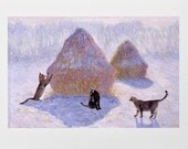 Cat Card- Claude Monet haystacks- Impressionist Art- Hand Made Cat Art Card- Deborah Julian
