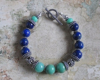 Lapis and Chrysoprase Sterling Bracelet AA