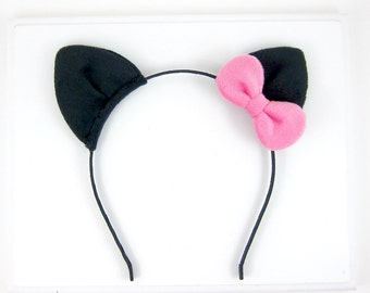 Cat Ears Headband Plush Black Fabric Kitten Ears Headband with Bow