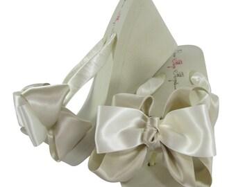 Wedding Flip Flops in Champagne Oatmeal bows/ bridesmaid choose satin color for Bridal Flip Flops/Ivory Wedge Platform Heel White beach