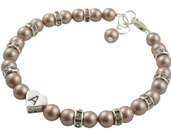 Flower Girl Bracelet- with Rhinestone Rondelles & Swarovski pearls - Powder Almond Pearls