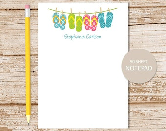 personalized notepad . flip flops notepad . clothesline note pad . girls stationery . personalized stationary . summer beach tropical
