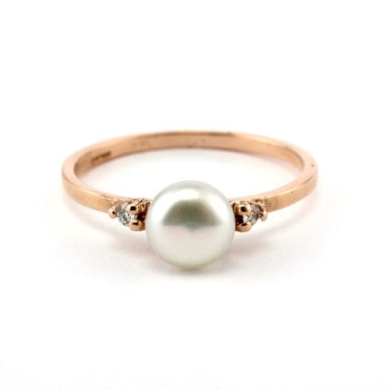 Rose Gold Engagement Ring Minimalist Pearl Ring 14K Gold