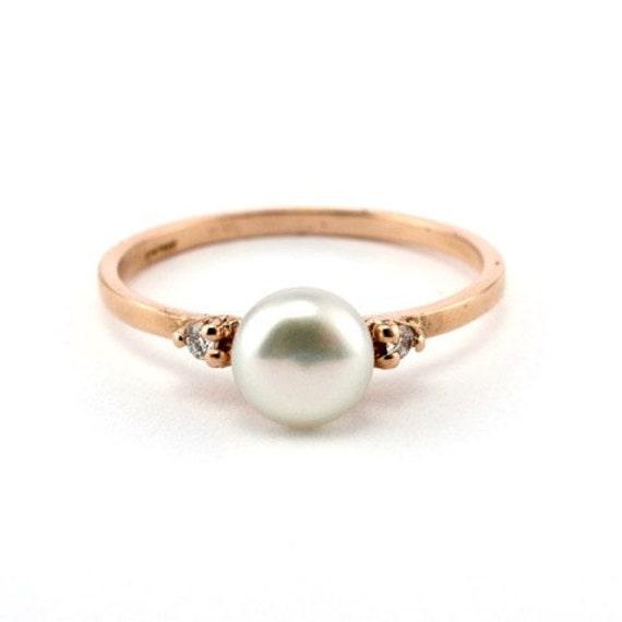 rose gold engagement ring minimalist pearl ring 14k gold. Black Bedroom Furniture Sets. Home Design Ideas
