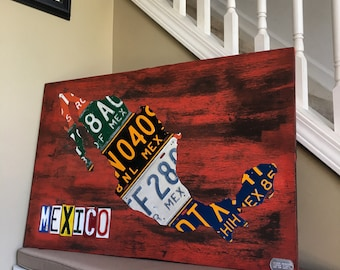 Mexico License Plate Map Recycled on Reddish Brown Board