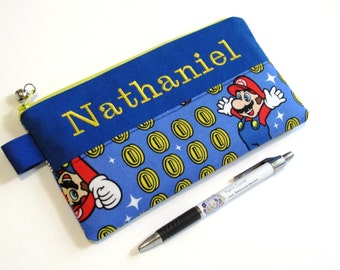 Handmade pencil bag - embroidery monogram name - pouch with zipper - Super Mario and coin toss - Nintendo - - storage bag - back to school