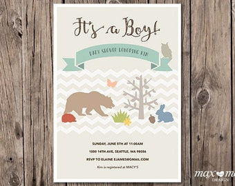 Woodland Animals Baby Shower Invitation, Made to order, Custom, Boy, Girl  - 5x7in