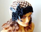 Crochet Dark Beige Beanie Beret Hat, Bride Lace Hat, Bride Fashion, Hand Crochet Dark Beige Women Hat