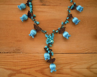 crochet necklace,  turquoise blue tulip flower