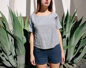NON NOON ama top / handmade linen cotton blue gray short sleeve dolman shirt top pockets small medium