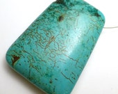 Tibetan Turquoise Bead Large Modified Rectangle Hand Made Focal Unique One of a Kind Individual Aqua Caribbean Pendant Necklace Jewelry DIY
