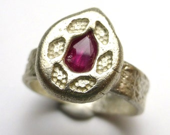 Sapphire Byzantine Ring Roman pink pear Cut Fine Silver Recycled Size 6.5 One of a Kind Jewelry Handmade by Lisajoy Sachs Burthday Ruby