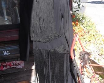 1960s Black Crepe Fringed Tango Dress, sz S