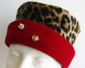 Vintage 60s Mr. John Faux Leopard Print & Red Velvet Pillbox Hat