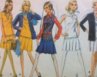 McCalls 2099 Vintage 1960's Drop Waist Pleated Mini skirt, Jacket and Long Top Pattern- Mod 1960's Ensemble Outfit Pattern-  Size 12 Bust 34