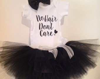 No Hair Don't Care, No Hair Don't Care Tutu, Baby Tutu Outfit, Newborn Tutu