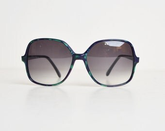 Vintage 70s 80s Oversized Sunglasses Shades / Green and Blue Marbleized Frames