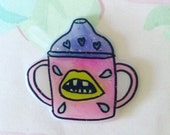 Sippy cup pin, Cry Baby Brooch