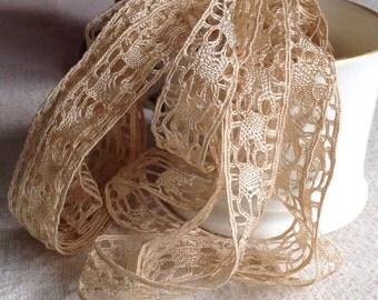 Reserved for Eleanor Antique Lace Trim, Vintage Silk Lace 4.3 yards Bobbin Lace Pale Caramel Vintage Wedding NOS