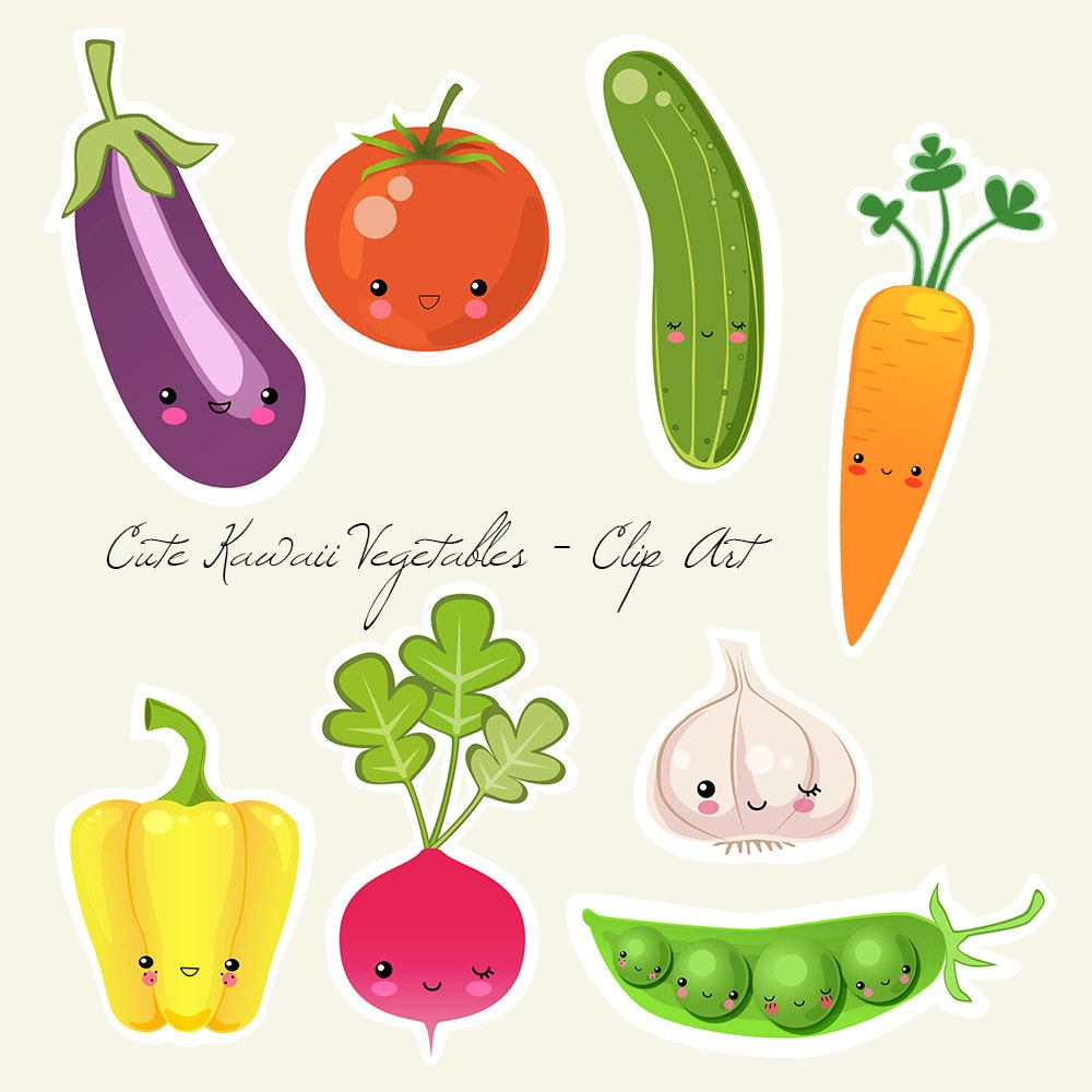 Cute Kawaii Vegetables Digital and Printable Clip Art