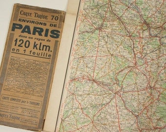Vintage FRENCH Folding Map showing PARIS and 120 kilometres of surrounding area
