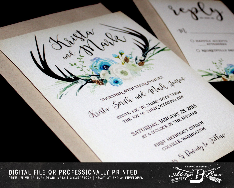 Deer Wedding Invitations: Deer Wedding Invitation SET Boho Wedding Invitation