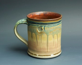 Handmade pottery coffee mug tea cup 14 oz, orange rust tea cup 3384