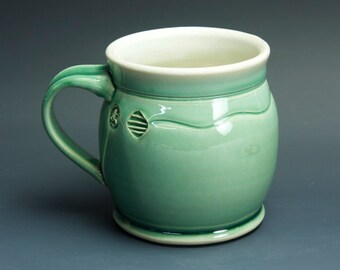 Pottery coffee mug, ceramic mug, stoneware tea cup jade green 16 oz 3386