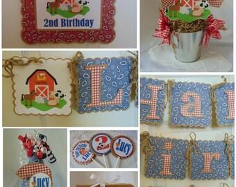 Farm birthday party- farm banner-Old McDonald Farm Birthday-Barnyard Birthday-1st Birthday-Farm Birthday Decorations