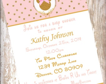 Minnie Mouse  Blush Pink and Gold Baby Shower Invitations birthday