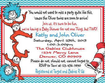 Thing 1 and Thing 2-Dr. Seuss Baby Shower Invitations-Cat in the Hat-birthday invitation -baby shower invitation