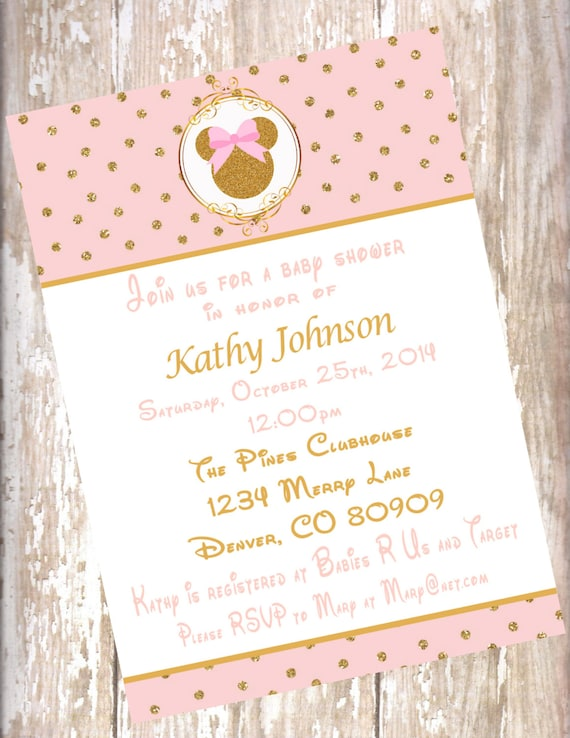 Minnie Mouse Blush Pink and Gold Baby Shower Invitations