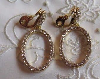 Vintage Gold Tone Dangle Style Hoop Clip On Earrings with Clear Faceted Rhinestones