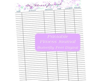 Printable Fitness Journal, Exercise Log, Weight Loss Chart, Instant Download, Letter Size, Watercolor Splash Banner