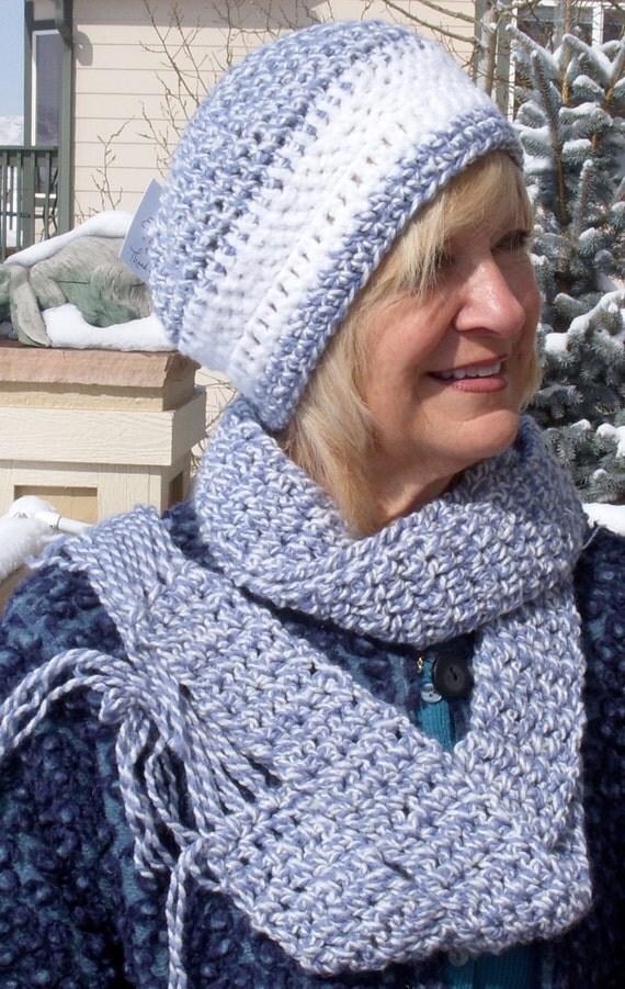 Crochet hat scarf set women's winter accessories ski clothing