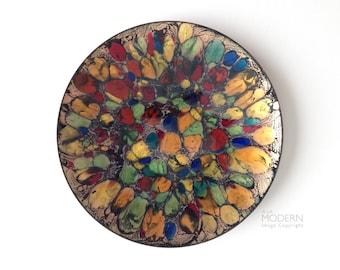 Vintage Adrian Sheldon Multicolor Rainbow Glass Enameled Copper Mid Century Modern Dish