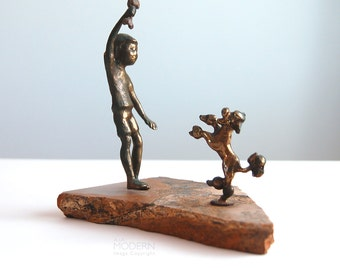 Bijan Malcolm Moran Jere Style Boy with Dog Sculpture