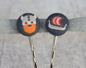 Viking Fabric Button Bobby Pin Pair