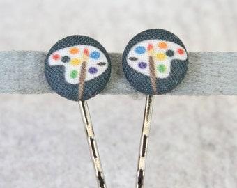 Artist Paint Palette Fabric Button Bobby Pin Pair