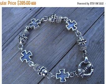 ON SALE Heavy skull and cross bracelet in sterling silver